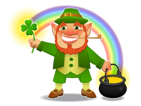 lucky leprechaun with shamrock and treasure