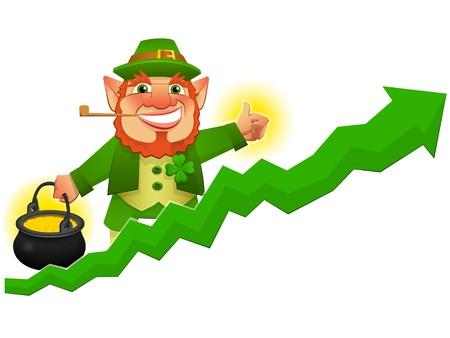 lucky leprechaun with business prosperity arrow