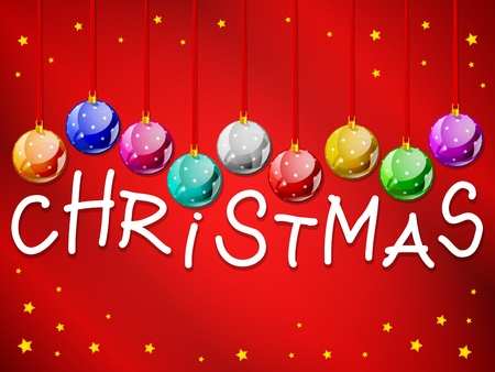 decorative christmas balls with title Illustration