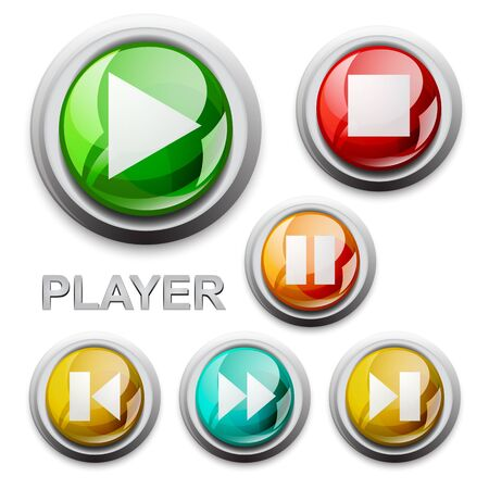 vector modern glossy icons, player Illustration