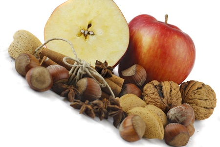 dollop of autumn fruges, nuts and apples Stock Photo