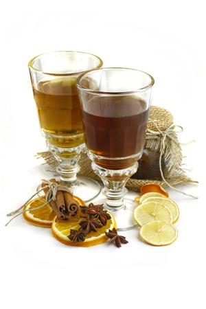 black tea with autumn still life, isolated