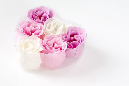 Heart of pink and white roses on white background. photo