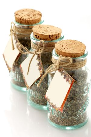 Jars of spices witn empty labels on white background. Stock Photo - 4184595