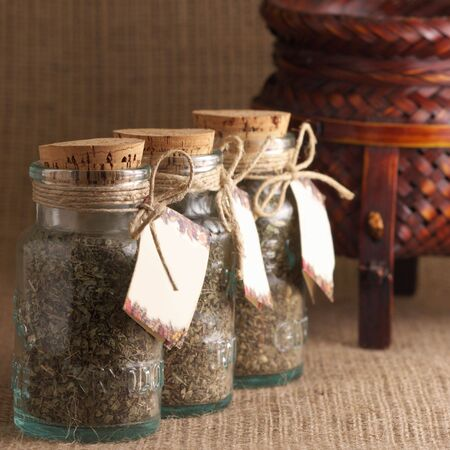 Jars of spices witn empty labels on sacking background. Stock Photo - 4191664