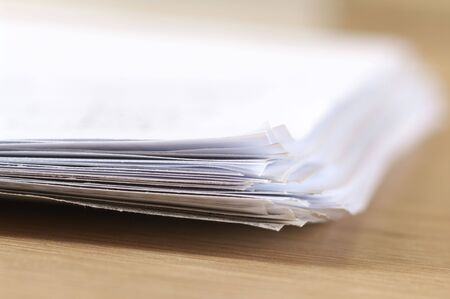 Pile of paper close-up. Selective focus on front edges. Stock Photo - 5444423