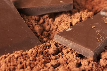 Pieces of dark chocolate close-up in cocoa powder. Shallow DOF. photo