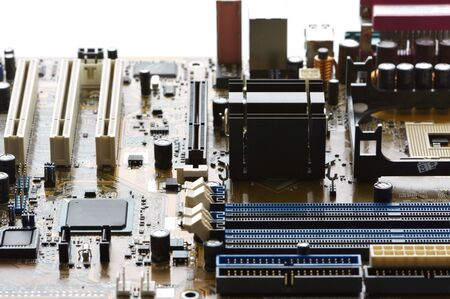 Concept of cityscape. Computer part: circuit board close-up. photo