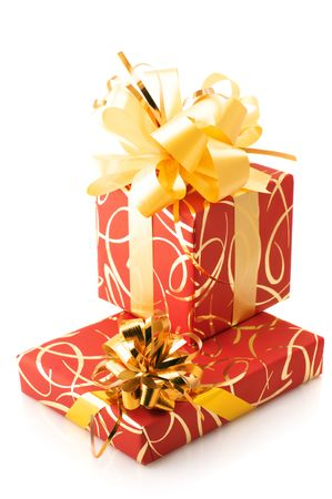 Two red and gold gifts isolated on white background. Stock Photo - 5979398