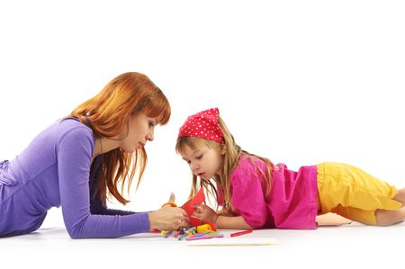 Mother and daughter in colorful clothes playing on white background.