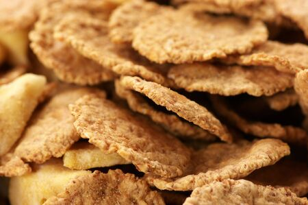roughage: Close-up of breakfast cereal as background. Stock Photo