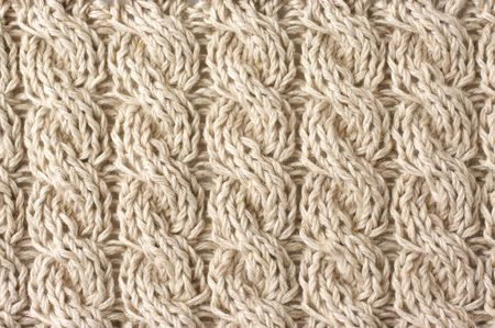knit: Knitted fabric with plaits of linencotton yarn.