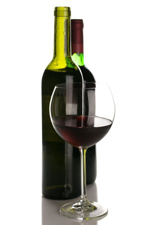 Two bottles and glass of red wine isolated on white background. Stock Photo - 7547755