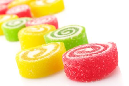 sugar paste: Close-up of colorful candy on white background. Stock Photo