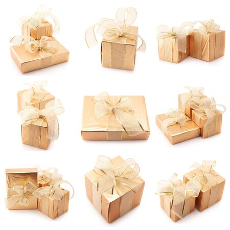 Nine images of golden gifts isolated on white background. photo