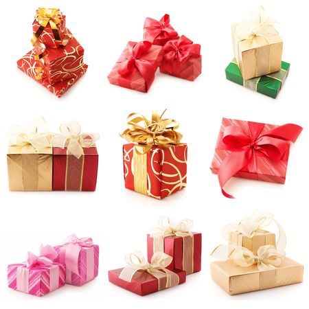 Nine images of colorful gifts isolated on white background. photo
