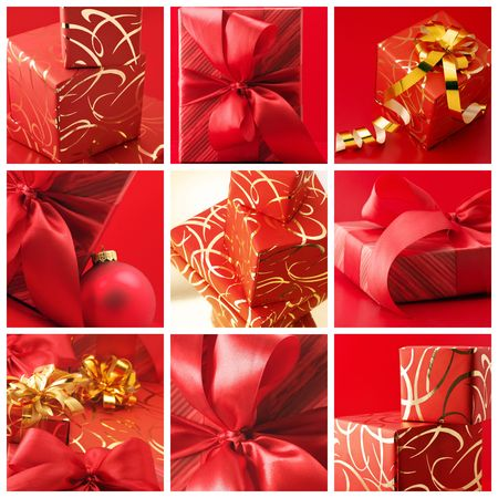 Collage of nine still life with red gifts. photo