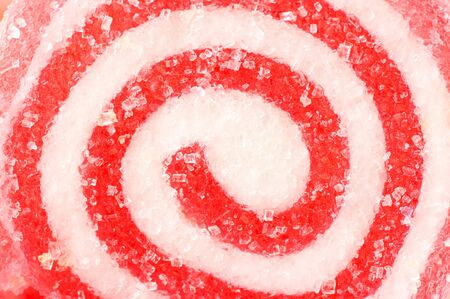 sugar paste: Close-up of candy with red and white spiral.