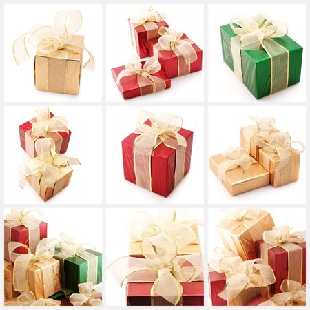 Nine images of colorful gifts on white background. photo