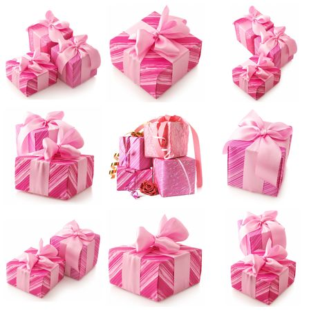 Nine images of pink gifts isolated on white background. photo