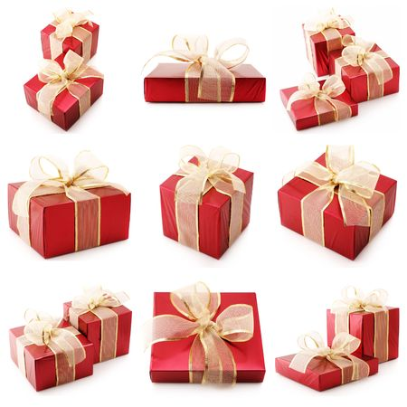 Nine images of red gifts isolated on white background. Stock Photo - 8138103