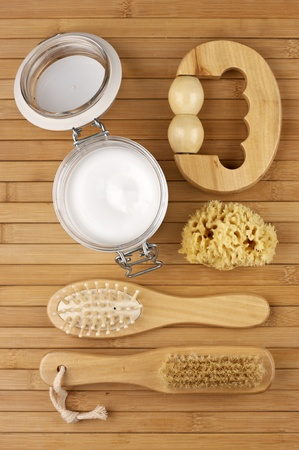 Various SPA accessories on wooden surface. photo