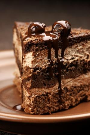to cake layer: Close-up di torta al cioccolato artigianale nel piatto in ceramica marrone.