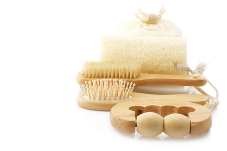 Set of SPA accessories isolated on white background. photo