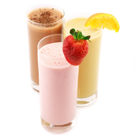 milk shake: Three assorted protein cocktails isolated on white background.