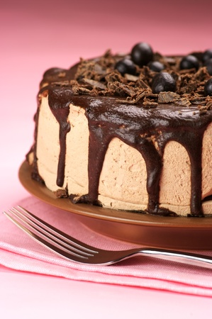 Close-up of homemade chocolate cake and fork on pink background.