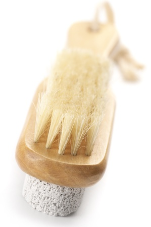 bristle: Bath brush with bristle and pumice isolated on white background. Stock Photo