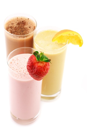 fruit shake: Three assorted protein cocktails isolated on white background.