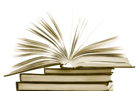 Stack of opened and closed books on white background. Toned image. Stock Photo - 9152211