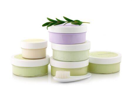 Set of various cosmetics isolated on white background. photo