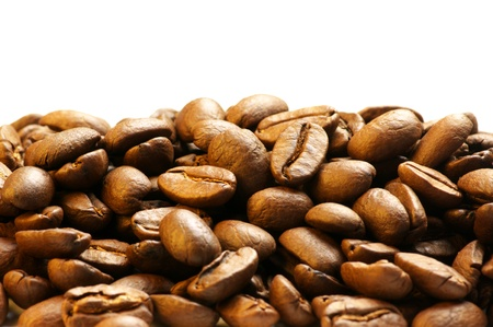 Heap of coffee beans on white background. Stock Photo - 9152238