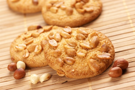 Group of cookies with peanuts on mat. Stock Photo - 9190743