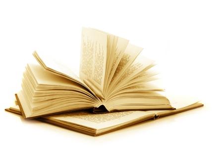 libros abiertos: Dos libros abiertos con pluma aisladas sobre fondo blanco. Tonos de imagen. Foto de archivo