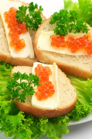 Close-up of canapes with butter and salmon caviar on lettuce leaves. photo