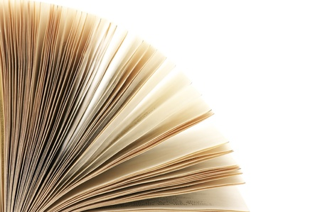 Close-up of open book on white background. Stock Photo - 9450814