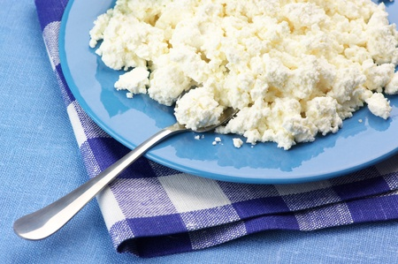 Close-up of cottage cheese in blue plate with checked napkin. photo