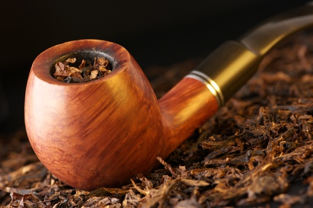 pipe smoking: Wooden pipe on heap of chopped dried tobacco leaves against black background.