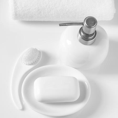 White bath accessories on light background.  photo