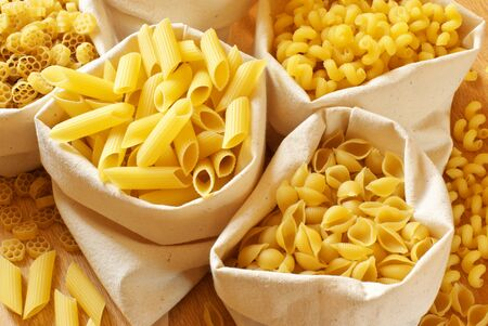 Close-up of assorted pasta in jute bags. Stock Photo - 9569311