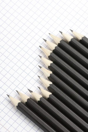 Set of black pencils on checked page. Stock Photo - 9569346