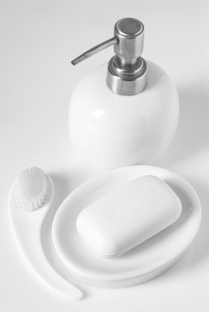 White bath accessories on light background.  Stock Photo - 9569484