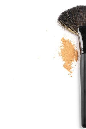 makeup brushes: Black  make-up brush and face powder on white background as border.