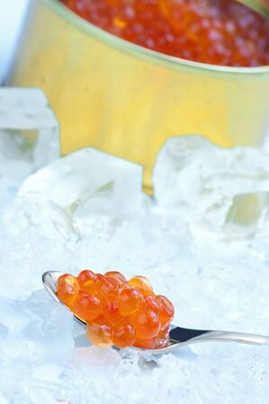 Canned salmon caviar with spoon on crushed ice. Stock Photo - 9692392