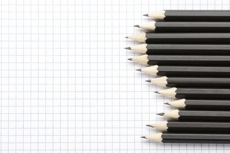 Set of black pencils on checked page. Stock Photo