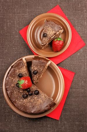 homemade cake: Two plates with homemade chocolate cake Stock Photo