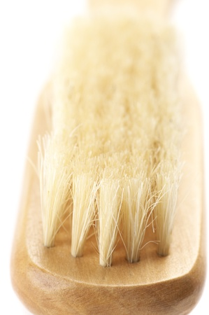 bristle: Close-up of wooden brush with bristle. Stock Photo